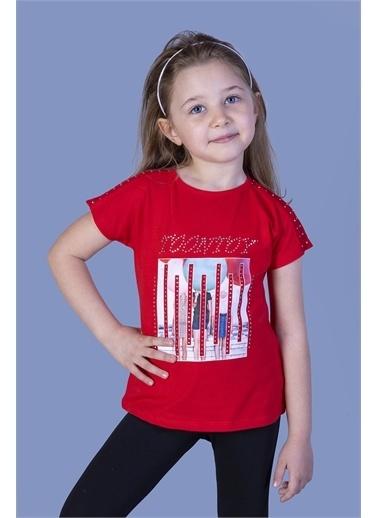 Toontoy Kids Toontoy Kız Çocuk Dijital Baskılı Taş İşlemeli Tişört Kırmızı